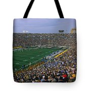 High Angle View Of A Football Stadium Tote Bag