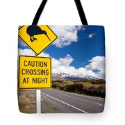 Kiwi Crossing Road Sign And Volcano Ruapehu Nz Tote Bag