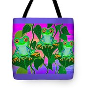 3 Little Frogs On Leafs Tote Bag