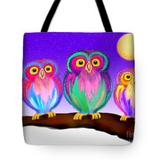 3 Little Owls In The Moonlight Tote Bag