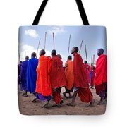 Maasai Men In Their Ritual Dance In Their Village In Tanzania Tote Bag