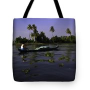 Man Boating On A Salt Water Lagoon Tote Bag