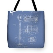Mccarty Gibson Les Paul Guitar Patent Drawing From 1955 - Light Blue Tote Bag by Aged Pixel