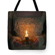 Medieval Woman Holding A Candle Tote Bag