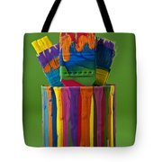 Multicolored Paint Can With Brushes Tote Bag