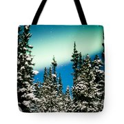 Northern Lights Aurora Borealis And Winter Forest Tote Bag