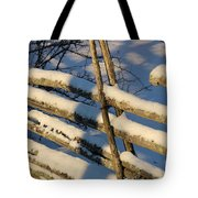 Old Swedish Wooden Fence In Winter Tote Bag