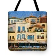Painting Of The Old Port Of Chania Tote Bag by George Atsametakis