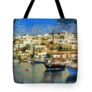 Panoramic Painting Of Mikrolimano Port Tote Bag