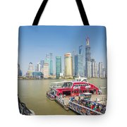 Pudong Skyline In Shanghai China Tote Bag