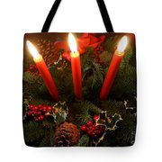 3 Red Candles Tote Bag
