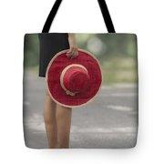 Red Sun Hat Tote Bag