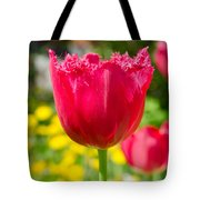 Red Tulips On The Green Background Tote Bag