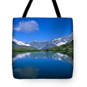 Reflection Of Mountains In Water Tote Bag