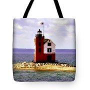 Round Island Lighthouse Straits Of Mackinac Michigan Tote Bag