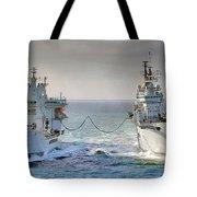 Royal Navy Aircraft Carrier Hms Ark Royal Conducts A Replenishment At Sea  Tote Bag