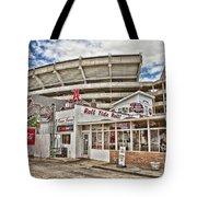 Shadow Of The Stadium Tote Bag by Scott Pellegrin