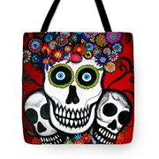 3 Skulls Tote Bag