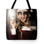Smart Female Santa Claus With Christmas Idea Tote Bag