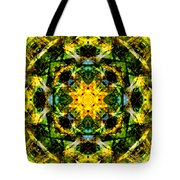 Stained Glass Sun Mandala Tote Bag