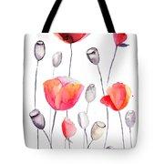 Stylized Poppy Flowers Illustration  Tote Bag