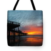 Sunset At Pismo Beach Pier Tote Bag