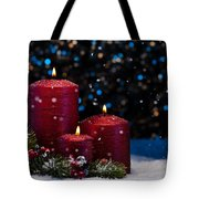 Three Red Candles In Snow  Tote Bag