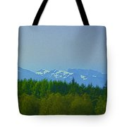 Treeline With Ice Capped Mountains In The Scottish Highlands Tote Bag