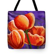3 Tulips Red Purple Tote Bag