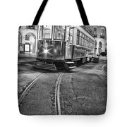 Typical Lisbon Tram In Commerce Square Tote Bag