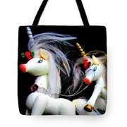 3 Unicorns Romping Tote Bag
