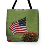 Us Flag On Memorial Day Tote Bag by Robert D  Brozek