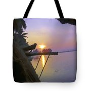 View Of Sunrise From Boat Tote Bag