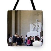 Visitors At The Lincoln Memorial Tote Bag