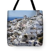 Windmills And White Houses In Oia Tote Bag