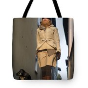 Woman Walking With Her Dog Tote Bag