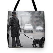 Woman With Her Dog Tote Bag