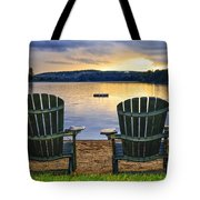 Wooden Chairs At Sunset On Beach Tote Bag