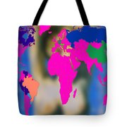World Map And Aphrodite Tote Bag