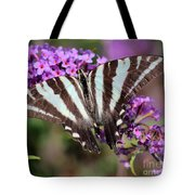 Zebra Swallowtail Butterfly At Butterfly Bush Tote Bag