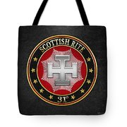 31st Degree - Inspector Inquisitor Jewel On Black Leather Tote Bag