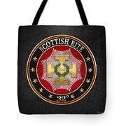32nd Degree - Master Of The Royal Secret Jewel On Black Leather Tote Bag