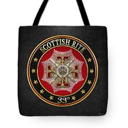 33rd Degree - Inspector General Jewel On Black Leather Tote Bag