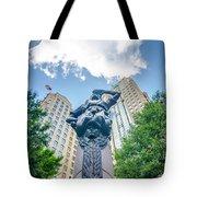Skyline And City Streets Of Charlotte North Carolina Usa Tote Bag