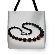 3608 Blue Tiger Eye Graduated Necklace Tote Bag