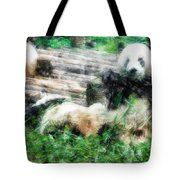 3722-panda -  Light Colored Pencils Tote Bag