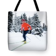 A Young Woman Cross-country Skiing Tote Bag