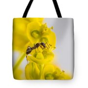 Black Garden Ant On Yellow Flower Tote Bag