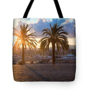 Boats In The Harbor Of Barcelona Tote Bag