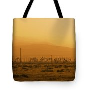 California Oil Field Under Amber Sky Tote Bag